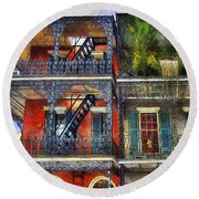 Round Beach Towel featuring the photograph Vieux Carre' Balconies by Tammy Wetzel