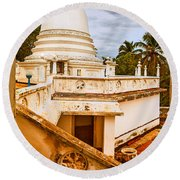 View At A Temple Round Beach Towel