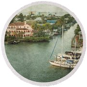 View At Fort Myers Beach - Florida Round Beach Towel