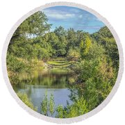 View Down The Creek Round Beach Towel