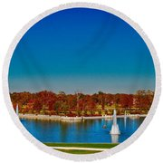 Round Beach Towel featuring the photograph View From Art Hill Forest Park Missouri by Peggy Franz
