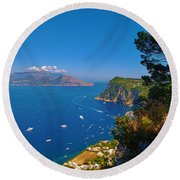 View From Capri Round Beach Towel by Dany Lison