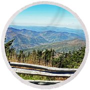 View From Mt. Mitchell Summit Round Beach Towel by Lydia Holly