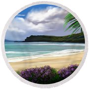 Round Beach Towel featuring the digital art View From My Villa by Anthony Fishburne