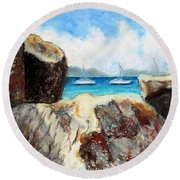 View Of Devil's Bay Round Beach Towel