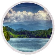 View From The Great Smoky Mountains Railroad Round Beach Towel