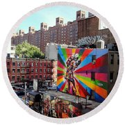 View From The Highline Round Beach Towel by Ed Weidman