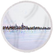 View From The Hudson Round Beach Towel