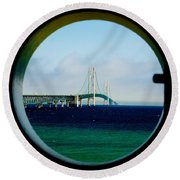 View From The Mackinac Light Round Beach Towel