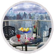 View From The Terrace Round Beach Towel