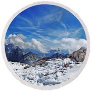 View From Zugspitze Germany Round Beach Towel