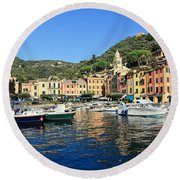 view in Portofino Round Beach Towel