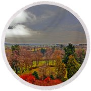 View Of Belgium Round Beach Towel