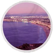 View Of Los Angeles Downtown Round Beach Towel by Panoramic Images