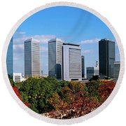 View Of Osaka Business Park In Autumn Round Beach Towel