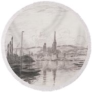 View Of Rouen Round Beach Towel
