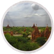 Round Beach Towel featuring the photograph View Of Smaller Temples Next To Dhammayazika Pagoda Built In 1196 By King Narapatisithu Bagan Burma by Ralph A  Ledergerber-Photography