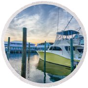 View Of Sportfishing Boats At Marina Round Beach Towel