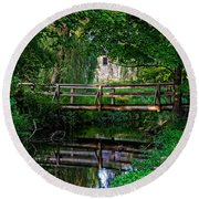 View Of The Grist Mill At Waterloo Village Round Beach Towel by Eleanor Abramson