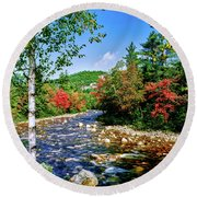 View Of The Swift River Round Beach Towel