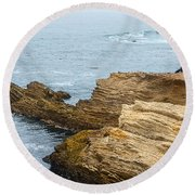 View Of Time - The Jagged Rocks And Cliffs Of Montana De Oro State Park Round Beach Towel