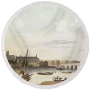 View Of Westminster And The Bridge Wc On Paper Round Beach Towel by English School