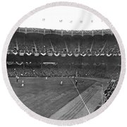 View Of Yankee Stadium Round Beach Towel