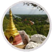 Round Beach Towel featuring the photograph View Over Ancient City Of Mandalay Aungmyaythazan From Mandalay Hill Mandalay Burma by Ralph A  Ledergerber-Photography