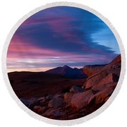 View To Long's Peak Round Beach Towel