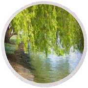 Views From The Lake V - Tranquility Round Beach Towel