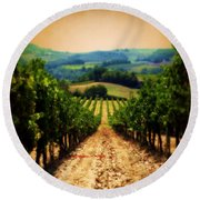 Vigneto Toscana Round Beach Towel by Micki Findlay