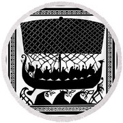 Viking Ancient Mariners Round Beach Towel by Vagabond Folk Art - Virginia Vivier