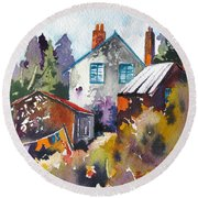 Round Beach Towel featuring the painting Village Life 1 by Rae Andrews