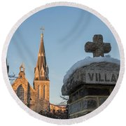 Villanova Wall And Chapel Round Beach Towel