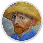 Vincent In Straw Hat Reproduction Round Beach Towel