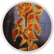 Vincent's Coleus In Pastels Round Beach Towel by Marna Edwards Flavell