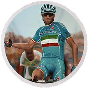 Vincenzo Nibali Painting Round Beach Towel by Paul Meijering