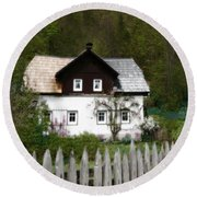 Vine Covered Cottage With Rustic Wooden Picket Fence Round Beach Towel