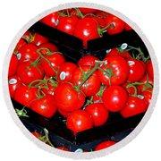 Vine Ripened Tomatoes Round Beach Towel