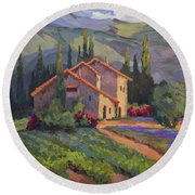 Vineyard And Lavender In Provence Round Beach Towel