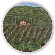 Vineyard In Neuchatel Round Beach Towel