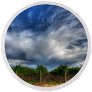Vineyard Storm Round Beach Towel