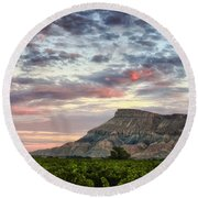 Vineyards And Mt Garfield Round Beach Towel