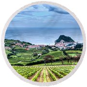 Vineyards By The Sea Round Beach Towel