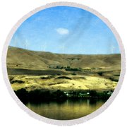 Vineyards On The Columbia River Round Beach Towel