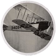 Vintage 1917 Curtiss Jn-4d Jenny Flying  Round Beach Towel by Keith Webber Jr