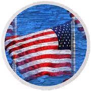 Vintage Amercian Flag Abstract Round Beach Towel by Judy Palkimas