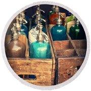 Vintage Antique Seltzer Bottles Round Beach Towel