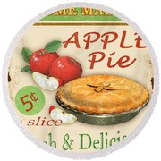 Vintage Apple Pie Sign Round Beach Towel by Jean Plout