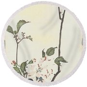 Vintage Asian Blossoms-a Round Beach Towel